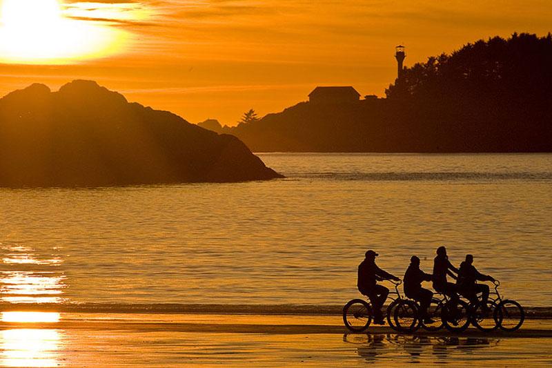 Beach bikes at sunset on Chesterman Beach North, Tofino, BC