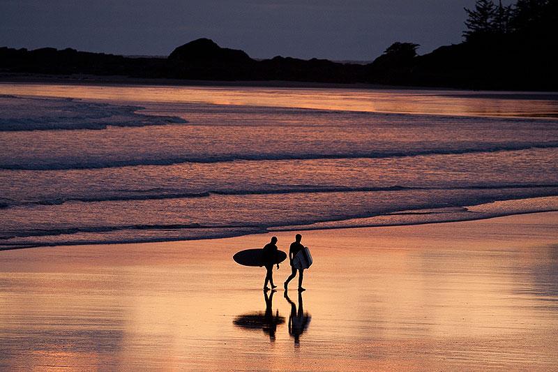 Sunset Tofio Surfing at Cox Bay Beach